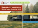 Pozvánka na Mezinárodní konferenci Centra pasivního domu 2018
